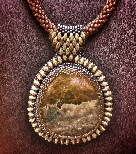 Storm Sonnet Necklace- Jasper cabochon, seed beads, hand beaded toggle clasp